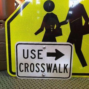 panneau routier américain, use crosswalk réfléchissant 50x30cm