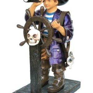pirates jeune pirate au gouvernail du galion