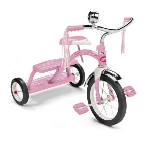 radio flyer, classic red tricycle, pink