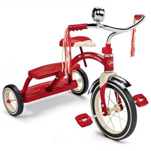 radio flyer, classic red tricycle, red