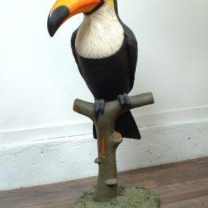 toucan sur une branche decoration plage mer ocean statue grandeur nature en resine et fibre de verre vente et location evenementiel